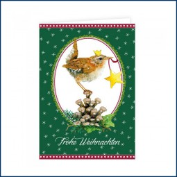 Doppelkarte Zaunkönig Frohe Weihnachten