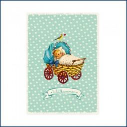 Postkarte Babywagen blau