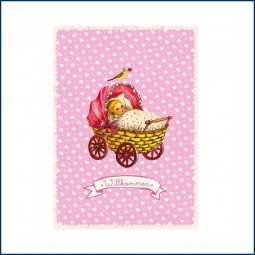 Postkarte Babywagen rosa