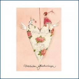Postkarte mit Herzanhänger
