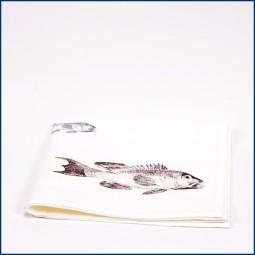 Serviette 'Fisch', Grau