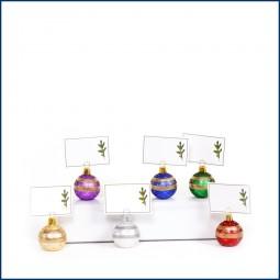 Tischkarten Ständer Weihnachtskugeln 6er Set