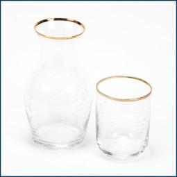 Wasserkaraffe mit Glas 'Goldrand'